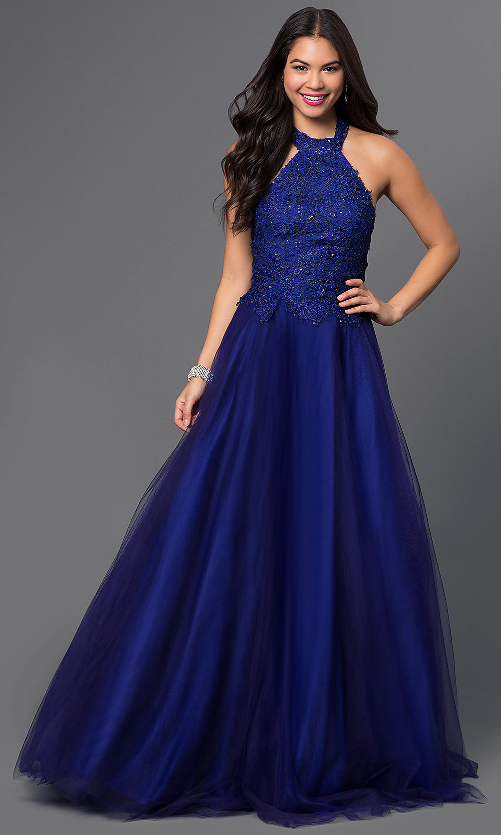 Halter Prom Dress with Lace Brocade  PromGirl