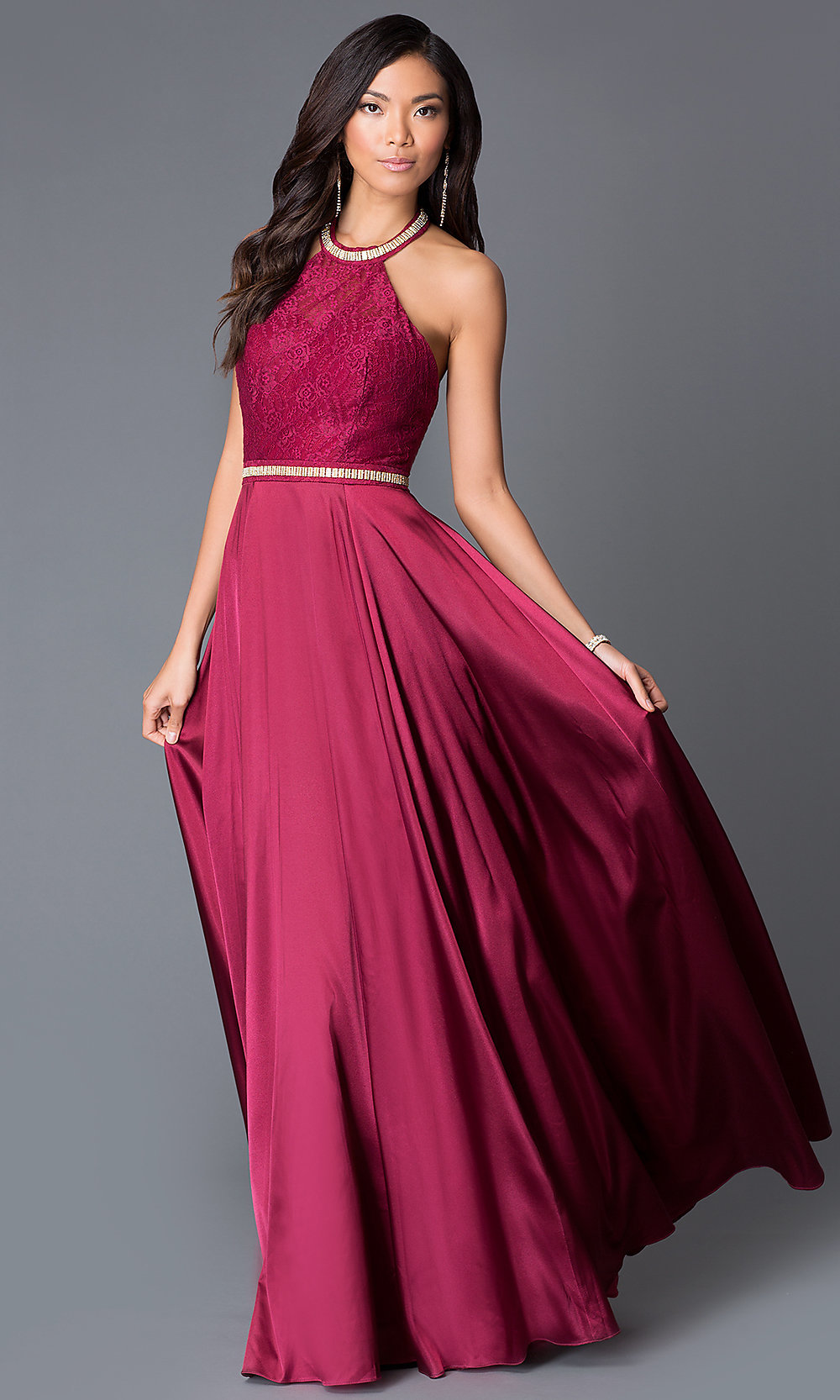 Long Satin and Lace HalterTop Prom DressPromGirl