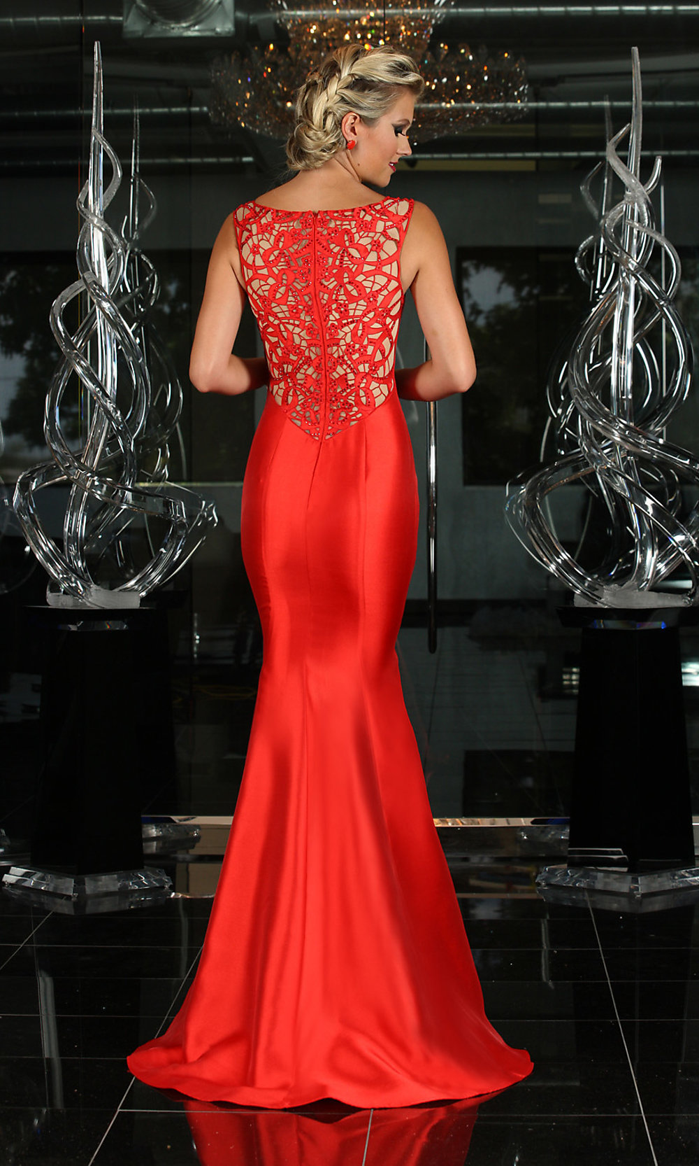 Floor Length Lace Back Trumpet Prom DressPromGirl