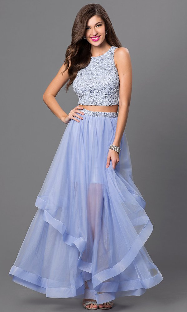Long Two-piece City Triangle Dresses - Promgirl