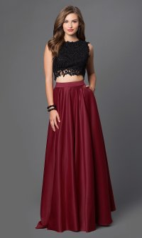 Two-Piece Prom Dress with Lace Top - PromGirl