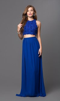 Two-Piece Floral Applique Long Prom Dress - PromGirl