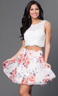Lace Top Short Two-Piece Dress - PromGirl
