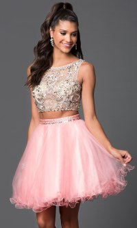 Short Jeweled Two-Piece Homecoming Dress