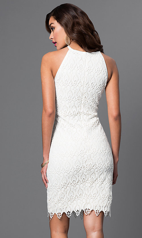 KneeLength White Lace Dress  PromGirl