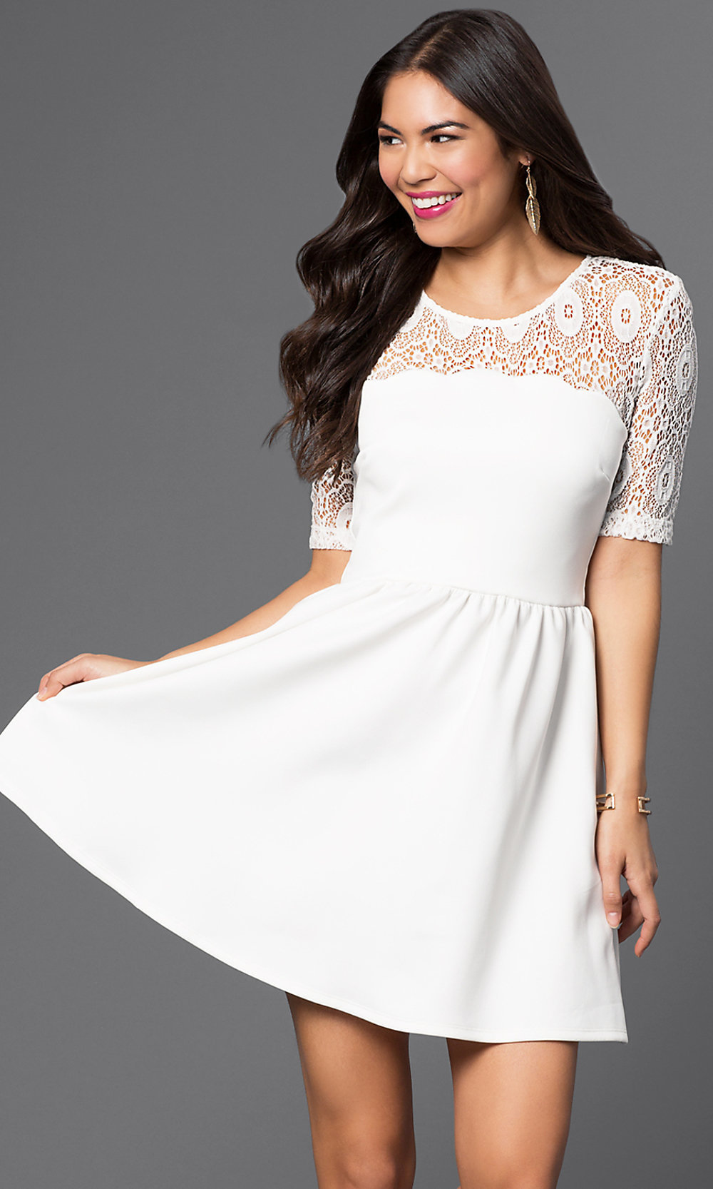 Short White Party Dress with Lace - PromGirl