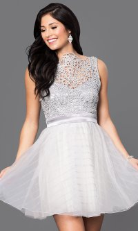 Silver Homecoming Dresses - Holiday Dresses