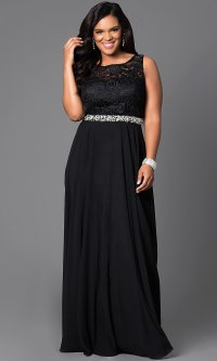 Long Lace-Bodice Plus-Size Evening Gown - PromGirl