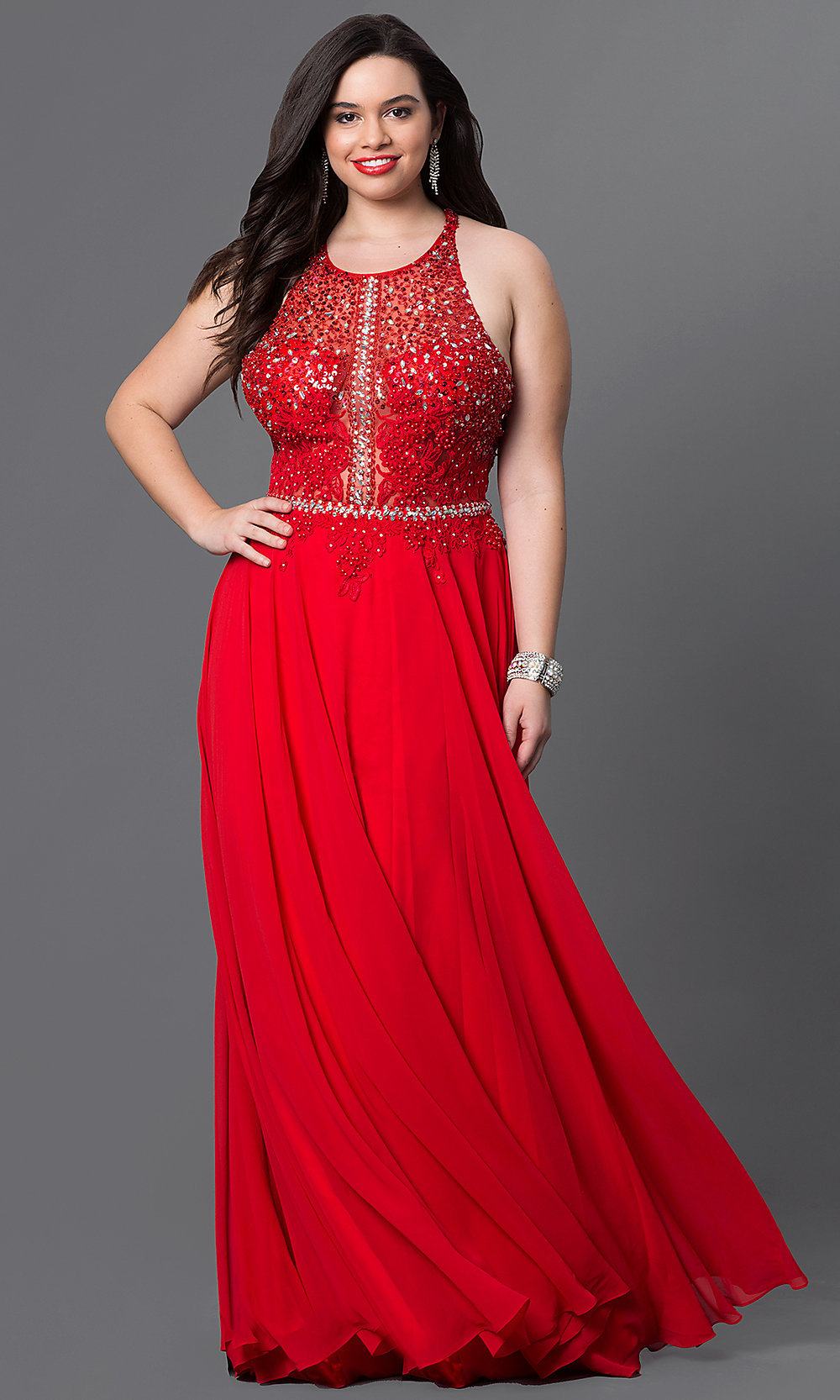 Red PlusSize Long Prom Dress with Lace  PromGirl