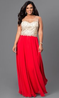 Illusion Red Plus-Size Long Prom Dress - PromGirl