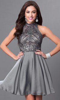Milano Formals Silver Homecoming Dress - PromGirl