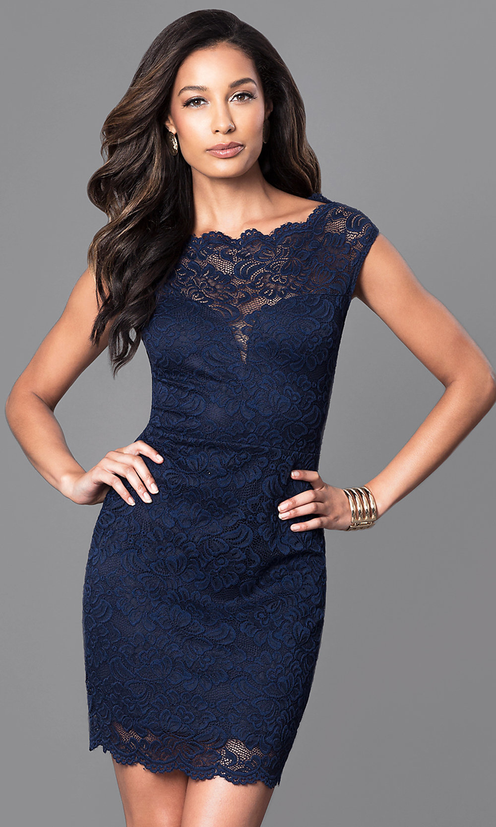 Cheap Navy Blue Lace SemiFormal Dress  PromGirl