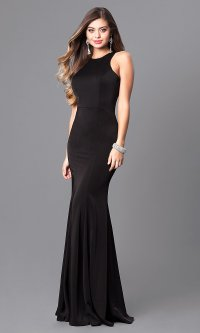 Racerback Jersey Prom Dress with High Neck -PromGirl