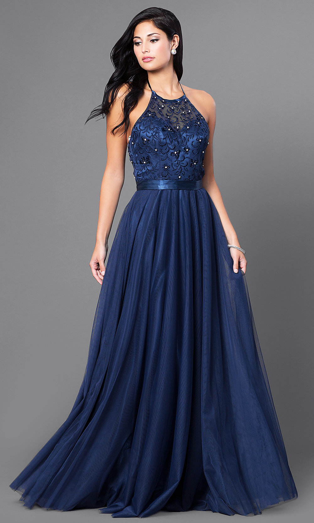 Embroidered Elizabeth K Long Halter Dress  PromGirl