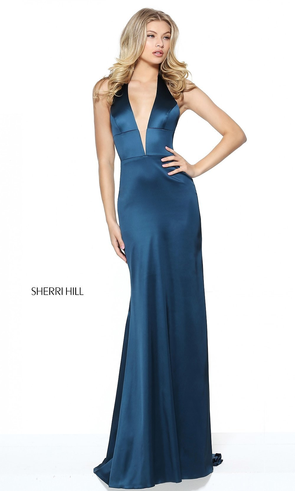 Sherri Hill Halter Prom Dress with VNeck  PromGirl