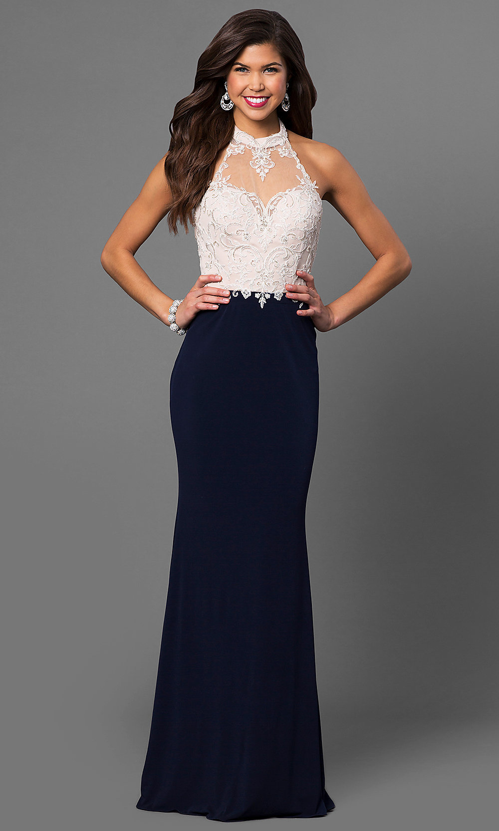 Long HighNeck Halter Prom Dress with Lace PromGirl