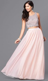 Long Two-Piece Prom Dress in Blush Pink - PromGirl