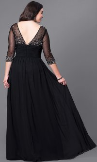 Plus-Size Silver Evening Dress with Sleeves -PromGirl