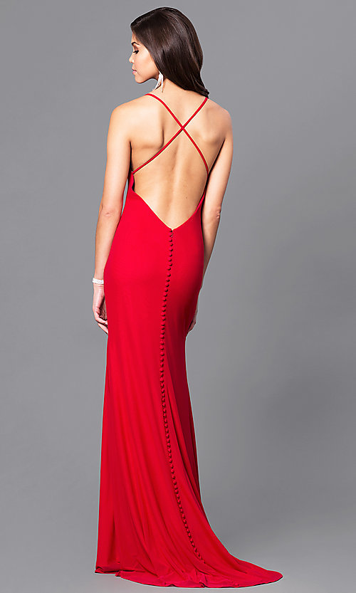Open Back Long Valentine Red Prom Dress PromGirl