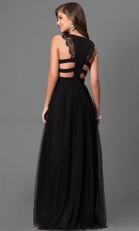Long Cut-Out Black Prom Dress with Lace - PromGirl