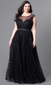 Illusion Long Lace Plus-Size Prom Dress - PromGirl