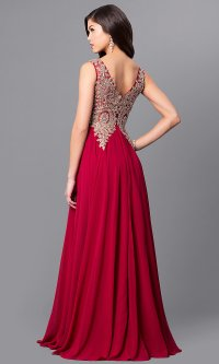 Lace-Applique Long Chiffon Prom Dress - PromGirl
