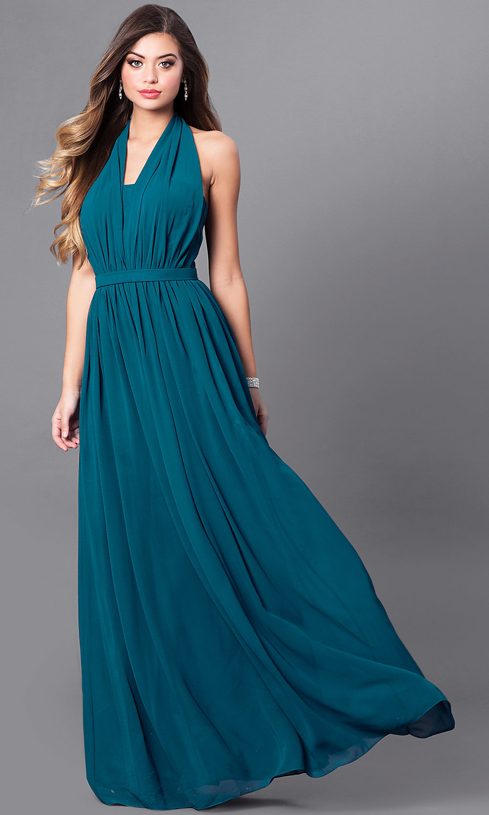 Halter VNeck Chiffon Long Prom Dress  PromGirl