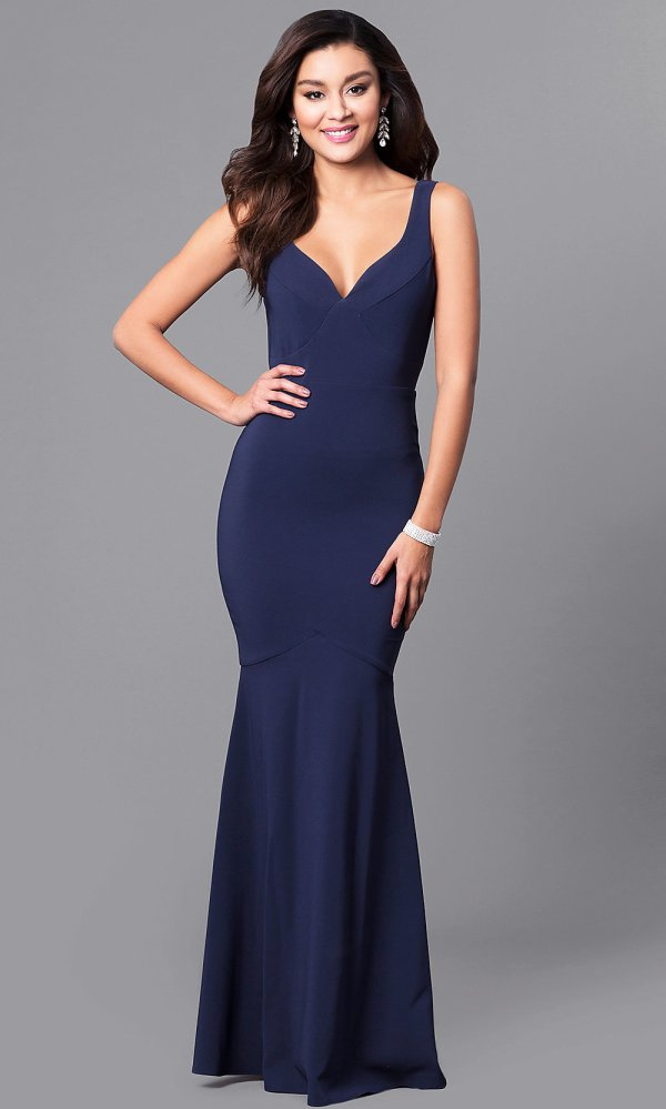 Navy Blue Mermaid Prom Dress With -neck - Promgirl