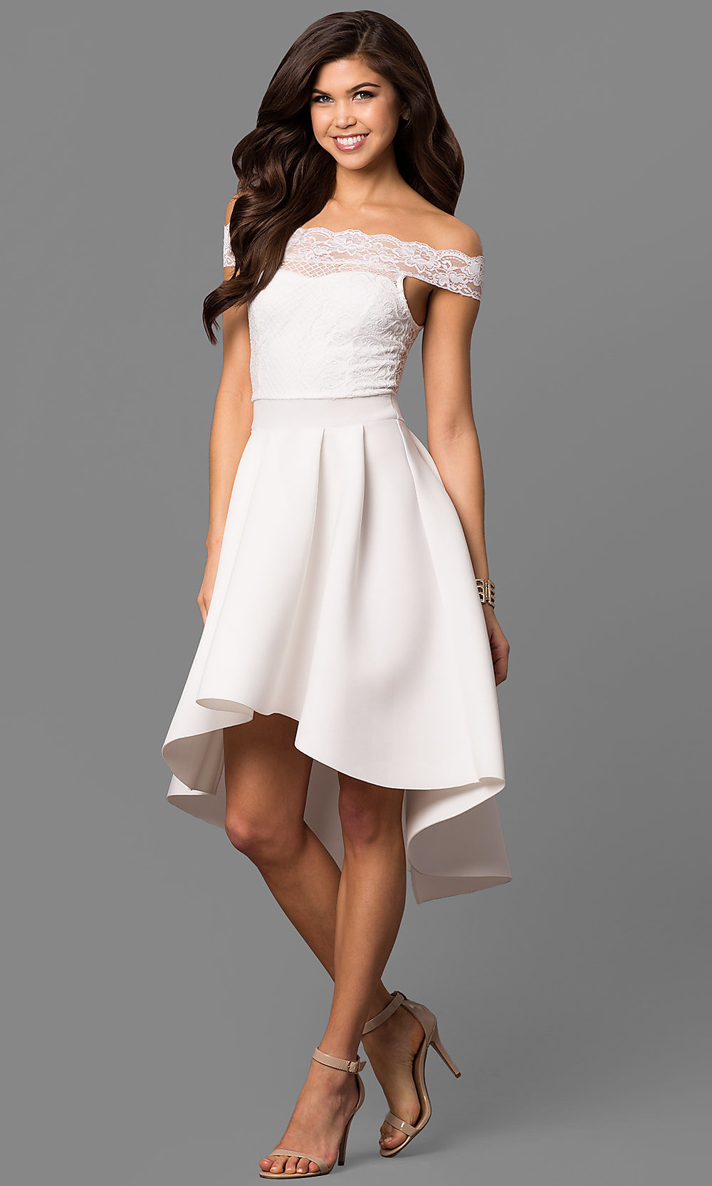 Off-the-Shoulder High-Low White Party Dress -PromGirl