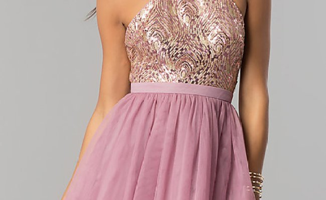 Sequin Bodice Tulle Short Homecoming Dress Promgirl