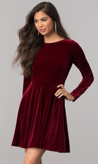Velvet Long-Sleeve Short Homecoming Dress - PromGirl