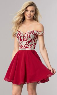 Off-Shoulder Short Homecoming Party Dress - PromGirl