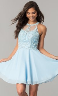 Short Homecoming Dress with Lace Applique - PromGirl