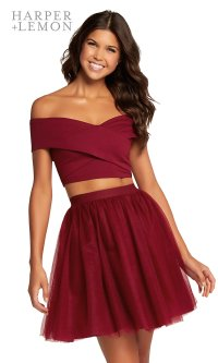 A-Line Off-Shoulder Two-Piece Party Dress - PromGirl