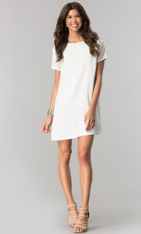 White Casual Dress With Sleeves