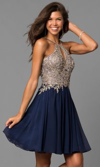 Navy Blue High-Neck A-Line Homecoming Dress - PromGirl