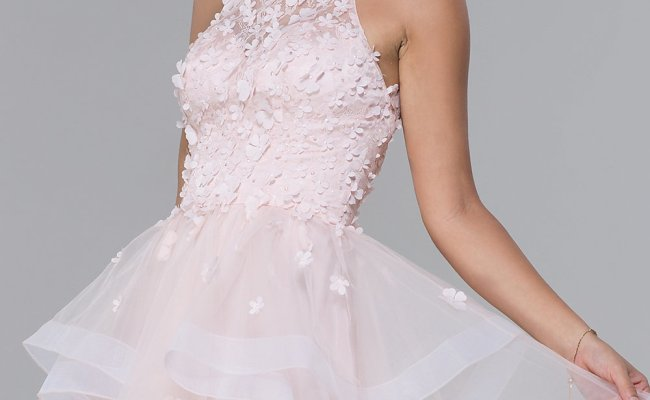 Lace Bodice Tulle Short Homecoming Dress Promgirl