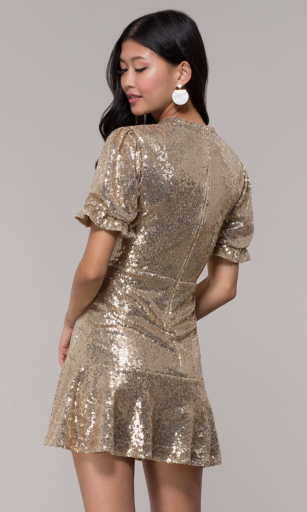 Gold Short Holiday Party Dress with Sleeves - PromGirl