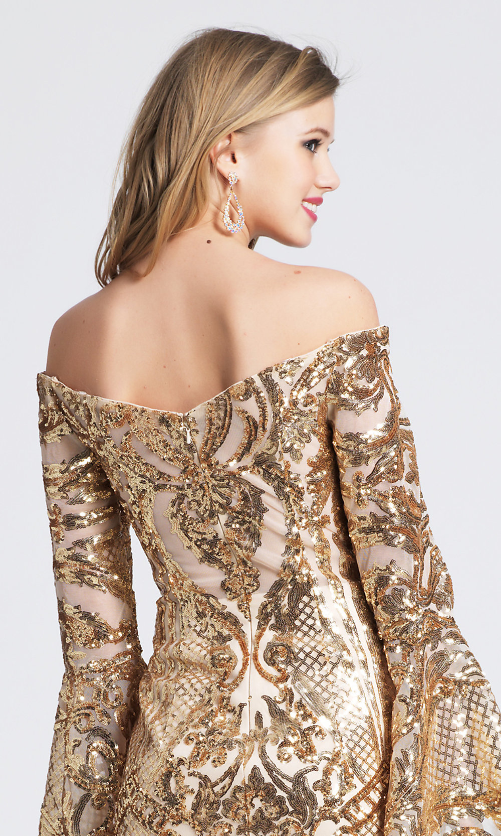 Short Gold Sequin Homecoming Dress with Sleeves