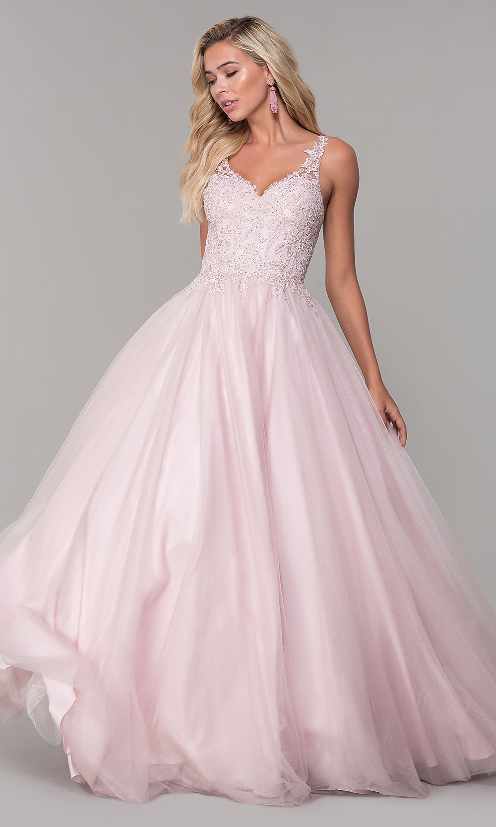 Long Tulle VNeck Dusty Pink Prom Dress  PromGirl
