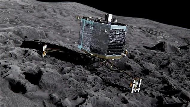 Un dessin d'artiste du robot Philae sur la surface de la comète 67P/Tchourioumov-Guérassimenko