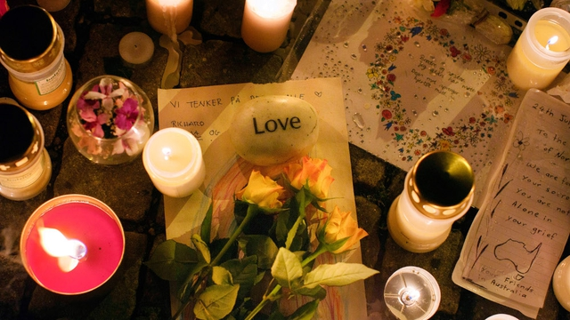 Oslo - Prayers, condolences and candles outside the cathedral