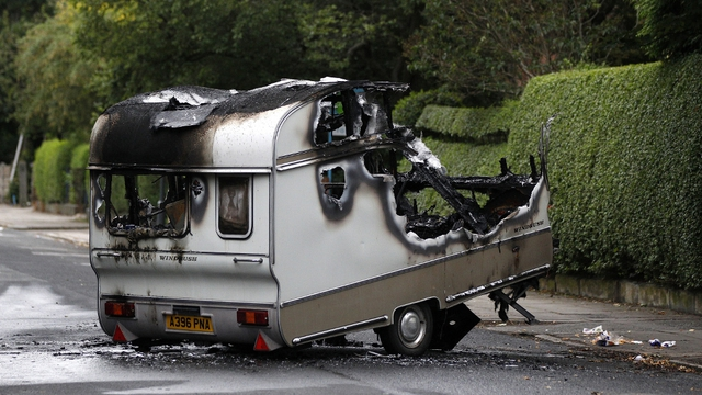 Toxteh, Liverpool - A caravan lies, burned out