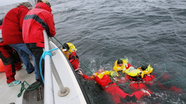 Five crew had been in the waters for three hours