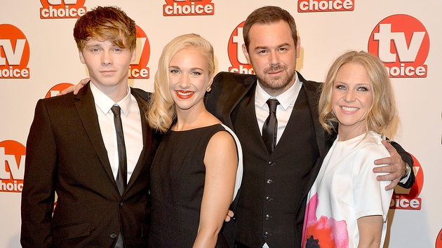 Danny Dyer (second right) with screen family (l to r) Sam Strike, Maddy Hill and Kellie Bright