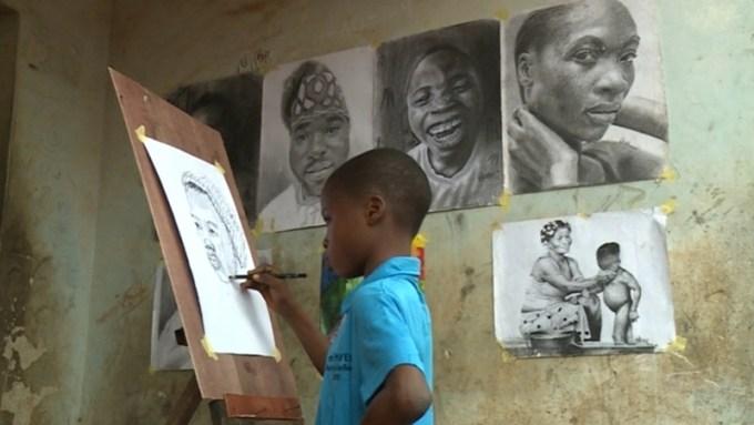 Waris Kareem works from a makeshift studio in Lagos