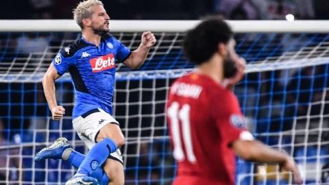 Napoli's Belgian forward Dries Mertens celebrates his winner