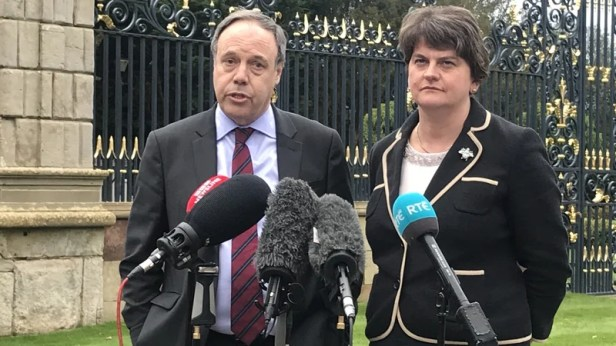 DUP leader Arlene Foster and the party's deputy leader Nigel Dodds reacting to the deal yesterday