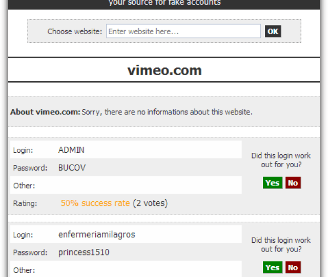 Fakeaccount Showing Vimeo Logins