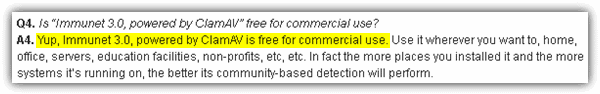 Immunet FAQ on commercial usage